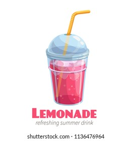 Vector lemonade icon. Refreshing summer drink in plastic cup for design street cafe.
