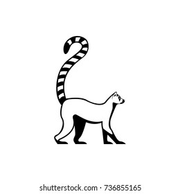 Vector lemur silhouette view side for retro logos, emblems, badges, labels template vintage design element. Isolated on white background