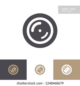 Vector lens icon set isolated on background. Apperture symbol. Camers objective icon. Shutter for photography logo, web design. 10 eps