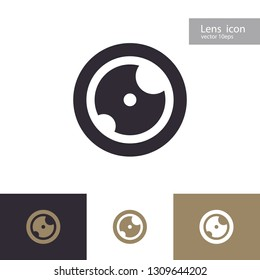 Vector lens icon set isolated on background. Aperture symbol. Camers objective icon. Shutter for photography logo, web design. 10 eps