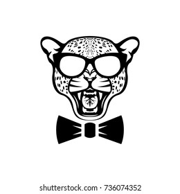 Vector leopard head, face  for retro logos, emblems, badges, labels template and t-shirt vintage design element. Isolated on white background