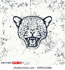 Vector leopard head, hipster face on grunge background