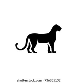 Vector leopard silhouette view side for retro logos, emblems, badges, labels template vintage design element. Isolated on white background