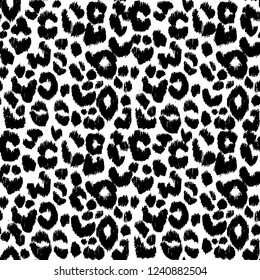Vector leopard,gepard seamless monochrome pattern on white background.