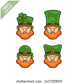 Vector of Leprechaun irish head set of 4. Element for St.Patrick`s day greeting design.