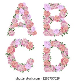 "Vector letter ""ABCD"" of peony flowers. All elements are isolated."