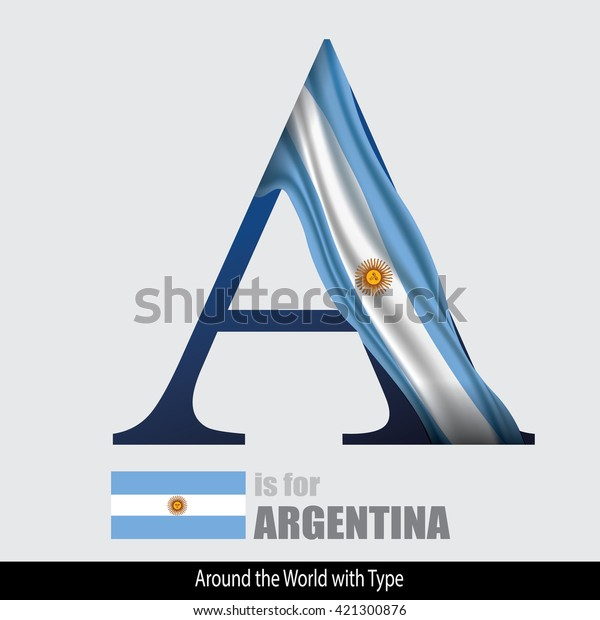 Vector Letter Argentina Flag Design Matches Stock Vector