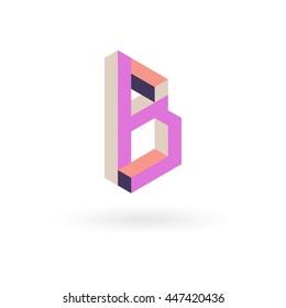 vector letter B isometric logo design