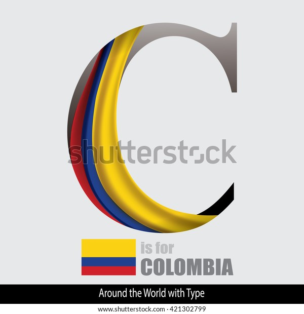 Vector Letter C Colombia Flag Design Stock Vector (Royalty