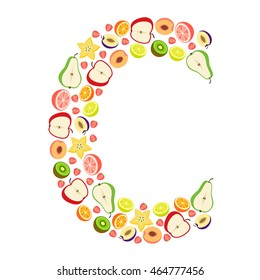 """Vector letter """"C"""" with different fruits"""