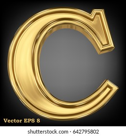 Vector letter C from gold solid alphabet. Eps 8 using mesh.
