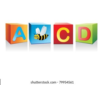 vector letter cubes and a bee