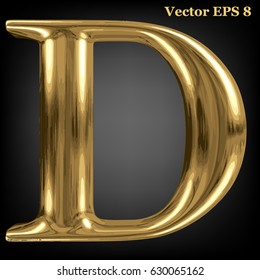 Vector letter D from gold solid alphabet, EPS 8.