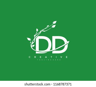 Vector Letter DD with Elegant Swoosh Arrow Decorative Leaf Vector Logo