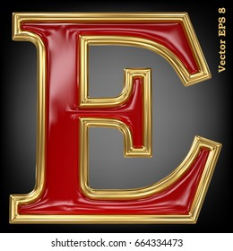 Vector letter E from gold solid alphabet. Eps 8 using mesh