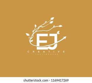 Vector Letter EJ with Elegant Swoosh Arrow Decorative Leaf Vector Logo