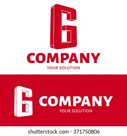 Vector letter G logo. Brand logo G for the company in the form of 3D letters. Red style.