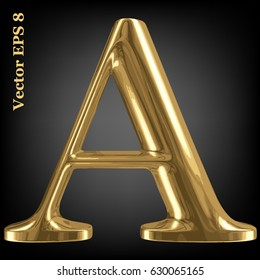Vector letter A from gold solid alphabet, EPS 8.
