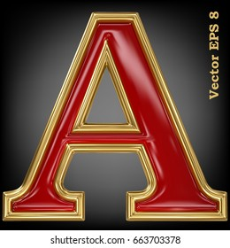 Vector letter A from gold solid alphabet. Eps 8 using mesh