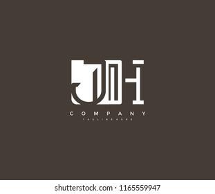 Vector Letter JH Combine Linked Modern Monogram Logo