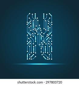 Vector letter N logo (sign, symbol, icon, design element). Technology design
