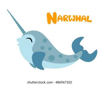 Vector letter N narwhal children cute alphabet illustration