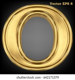 Vector letter O from gold solid alphabet. Eps 8 using mesh.