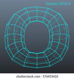 Vector letter O stylized polygonal wireframe 3d model. EPS 8