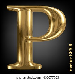 Vector letter P from gold solid alphabet, EPS 8.