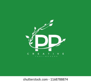 Vector Letter PP with Elegant Swoosh Arrow Decorative Leaf Vector Logo