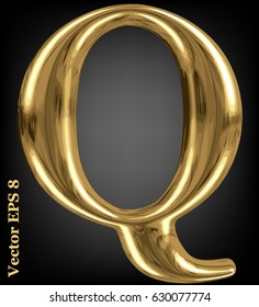 Vector letter Q from gold solid alphabet, EPS 8.