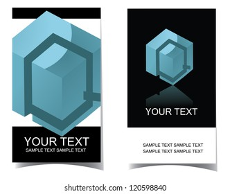 Vector Letter Q Icon Symbol Business Card Set front and back. No open shapes or paths.