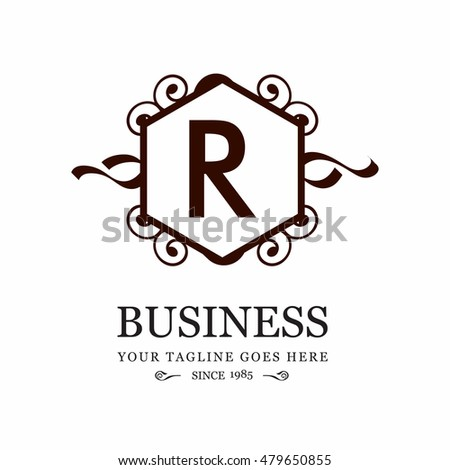 Vector letter r business sign logo stock vector royalty free vector letter r business sign logo template vintage insignia or logotype flourishes calligraphic monogram flashek Images