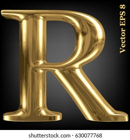 Vector letter R from gold solid alphabet, EPS 8.