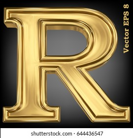 Vector letter R from gold solid alphabet. Eps 8 using mesh.