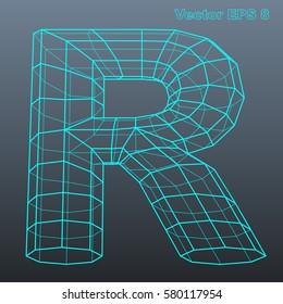 Vector letter R stylized polygonal wireframe 3d model. EPS 8