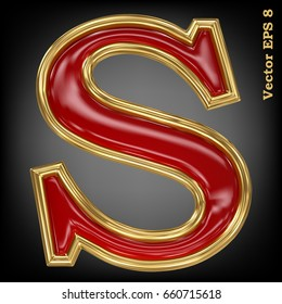 Vector letter S from gold solid alphabet. Eps 8 using mesh.