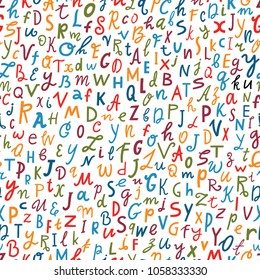 Vector letter seamless pattern. Abc alphabet background