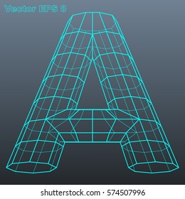 Vector letter A stylized polygonal wireframe model. EPS 8