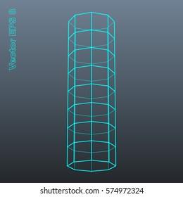 Vector letter I stylized polygonal wireframe 3d model. EPS 8