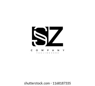Vector Letter SZ Combine Linked Modern Monogram Logotype