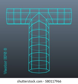 Vector letter T stylized polygonal wireframe 3d model. EPS 8