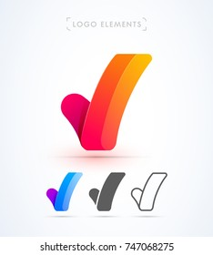 Vector letter V or Check mark logo template. Material design, flat, line-art styles. Company symbol or app icon