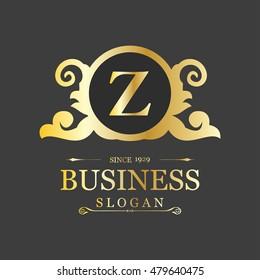 Vector Letter Z Business Sign logo Template. Vintage Insignia or Logotype. Flourishes calligraphic monogram emblem template. Vector illustration