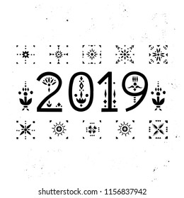 "Vector lettering ""2019"" Black numbers with ethnic patterns. For original greeting cards, trendy posters."