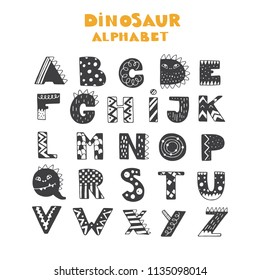 Vector lettering Alphabet with Dinosaurs decorations. ABC Dinosaurs.Dino font. Texture animal of Jurassic period. Tyrannosaurus alphabet.