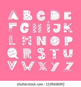 Vector lettering Alphabet with Dinosaurs decorations. ABC Dinosaurs.Dino font. Texture animal of Jurassic period. Tyrannosaurus alphabet.