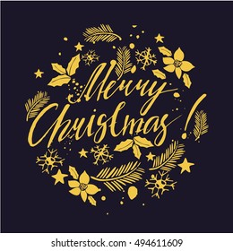 vector lettering, beautiful lettering Merry Christmas. card winter card with calligraphy