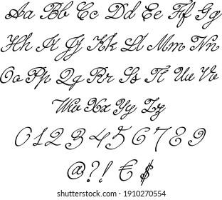 Vector lettering font - English alphabet - romantic font