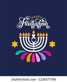 Vector lettering hand written text Hanukkah, candle icon isolated. Jewish Festival of Lights celebration, festive background, menorah symbol, David Star. Happy Hanukkah holiday greeting card template